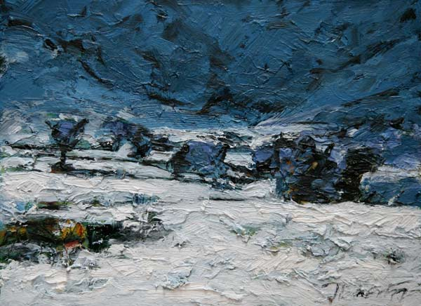 Michael Flaherty - THE COLD NIGHT OF DAY:  12 x 16 - OIL ON BOARD