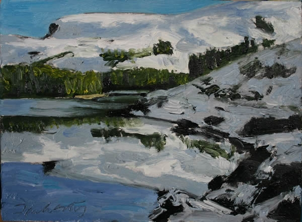 Michael Flaherty - REFLECTIONS GLENTEENASSIG:  7 x 12- OIL ON BOARD