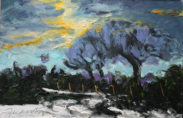 Michael Flaherty - WINTER EVENING LIGHT:  8 x 12 - OIL ON BOARD
