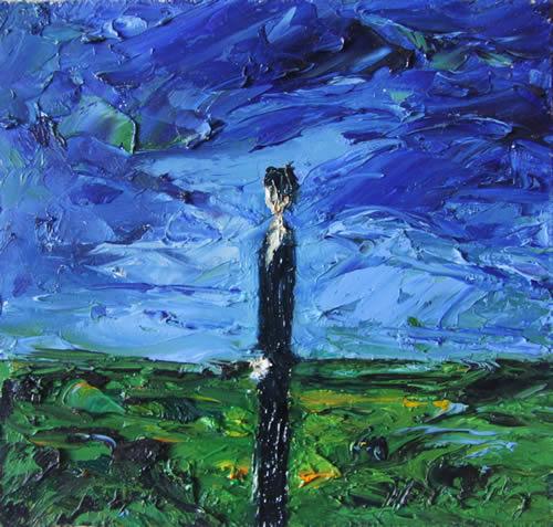 Michael Flaherty - WOMEN IN LANDSCAPE:  10.5  x 10.5 - OIL ON BOARD