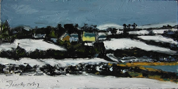 Michael Flaherty - SNOW ON CAPPAGH:  6 x 12 - OIL ON BOARD