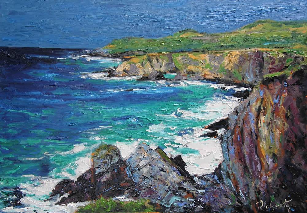"Michael Flaherty - Rocks-and-Sea 2 : 16"" x  24"""